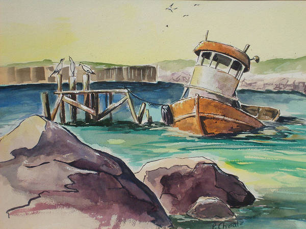 Seascape Poster featuring the painting Old Tug by Paul Choate
