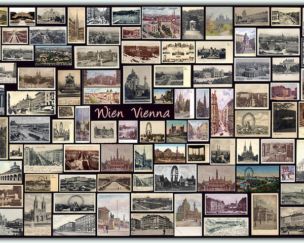 Wien Poster featuring the pyrography Old Vienna Collage by Janos Kovac
