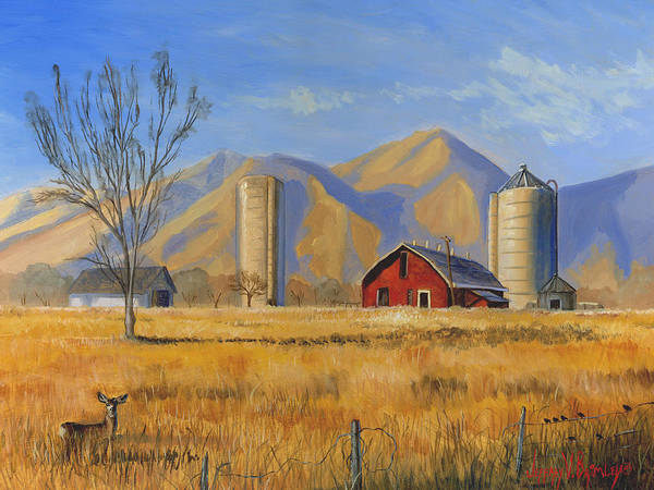 Red Poster featuring the painting Old Vineyard Dairy Farm by Jeff Brimley