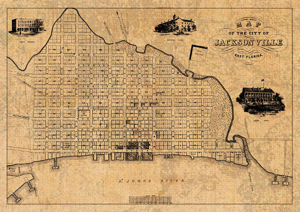 Old Vintage Map Of Jacksonville Florida Circa 1859 On Worn ...