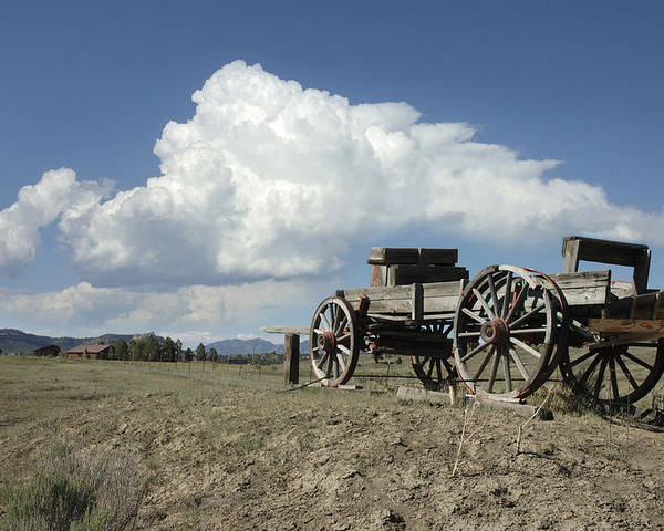 Wagon Poster featuring the photograph Old Wagon Out West by Jerry McElroy