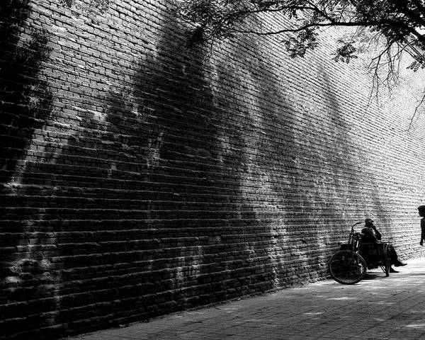 Black And White Poster featuring the photograph Old Wall by Lian Wang
