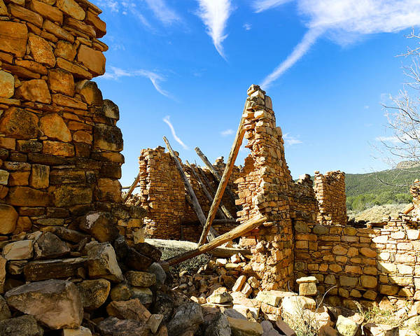 Kanishba Ruins Poster featuring the photograph Old Walls Fallen by Jeff Swan