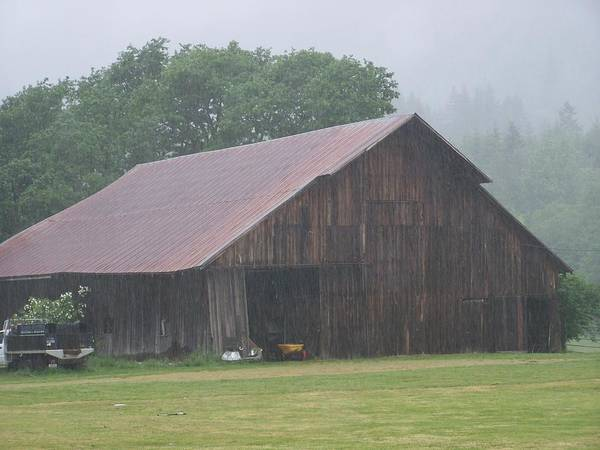 Barn Photography Poster featuring the photograph Old Wood Barn In The Mist Washington State by Laurie Kidd