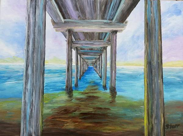 Scripps Pier Poster featuring the painting Old Wooden Pier by Irving Starr