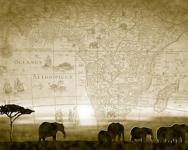 Elephants Poster featuring the digital art Old World Africa Antique Sunset by Dana Bennett