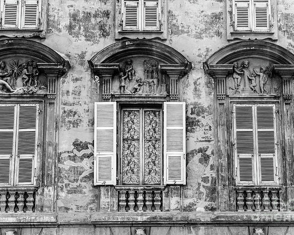 Black And White Poster featuring the photograph Old Yellow Building With Lace Curtain In Nice, France, Black And by Liesl Walsh