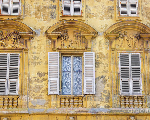 Cote D'azur Poster featuring the photograph Old Yellow Building With Lace Curtain In Nice, France by Liesl Walsh