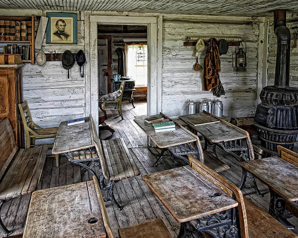 Montana Poster featuring the photograph Oldest School House C. 1863 - Montana Territory by Daniel Hagerman