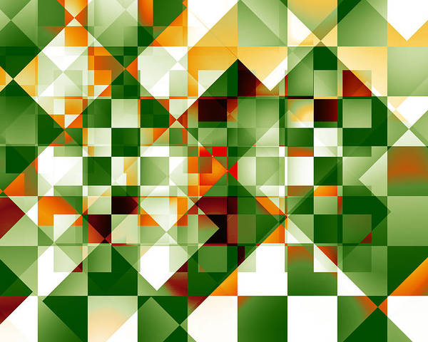 Abstract Poster featuring the digital art Olive Facets by Gae Helton