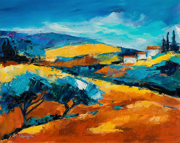 Landscape Poster featuring the painting Oliviers En Provence by Elise Palmigiani