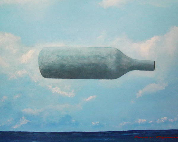Magritte The Bottles Of Fineartamerica Enrico Ripamonti Brescia Italy Italia Blue Blu Sea Mare Sky Cielo Bottiglie Surrealismo Poster featuring the painting Omaggio A Magritte by Enrico Ripamonti