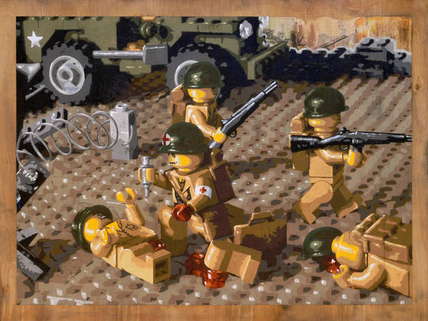 Lego Poster featuring the painting Omaha Beach June 6 1944 by Josh Bernstein
