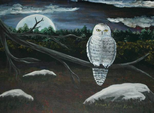 Snowy Owl Poster featuring the painting Omens Of Change by Karen Giles