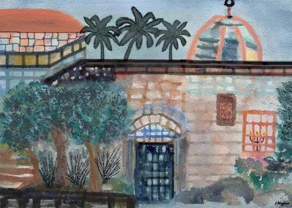 Hebron Israel City Street Town Buildings Homes Structures Architecture Doorway Bricks Stones Plants Trees Nature Landscape Sky Blue Palm Trees Stairs Railings Dome Poster featuring the painting On A Street In Hebron by Sher Magins