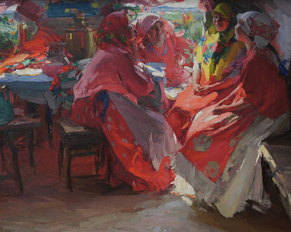 Abram Arkhipov Poster featuring the painting On a Visit by Abram Arkhipov