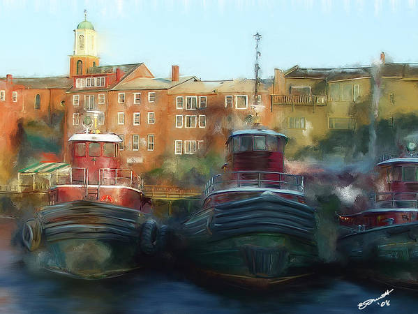 Nautical Tow Tug Boat Portsmouth Nh Atlantic Coast Harbor Sea Ocean Port Poster featuring the painting On Call by Eddie Durrett