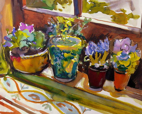 Flowers Poster featuring the painting On My Courtyard Step by Doranne Alden