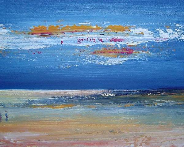 Seascape Poster featuring the painting On The Beach by Bridgette Allan