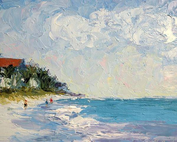Seascape Poster featuring the painting On The Beach by Colleen Murphy