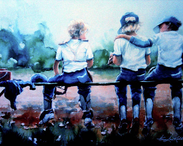Kids In Sports Poster featuring the painting On The Bench by Hanne Lore Koehler
