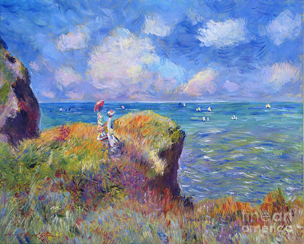 Landscape Poster featuring the painting On The Bluff At Pourville - Sur Les Traces De Monet by David Lloyd Glover