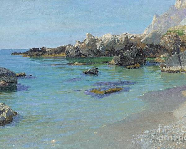 On The Capri Coast (oil On Canvas) By Paul Von Spaun (1876-1932) Poster featuring the painting On The Capri Coast by Paul von Spaun
