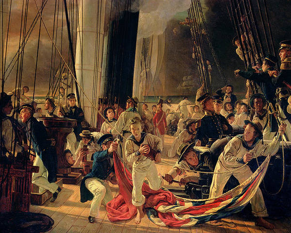 The Poster featuring the painting On The Deck During A Sea Battle by Francois Auguste Biard