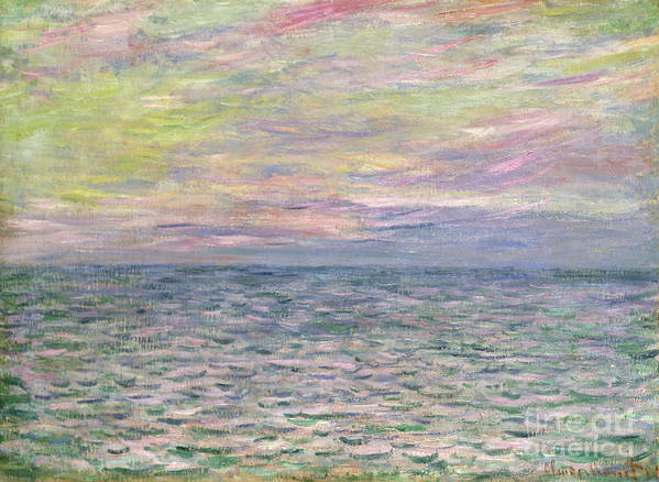French Poster featuring the painting On The High Seas by Claude Monet