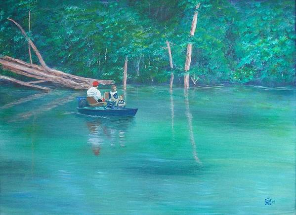 Boats Poster featuring the painting On The Lake by Tony Rodriguez