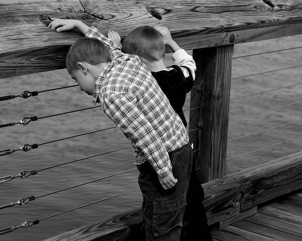 Boys Poster featuring the photograph On The Pier by Christina Durity