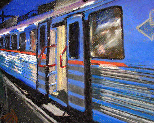 Train Poster featuring the painting On The Platform by Art Nomad Sandra Hansen