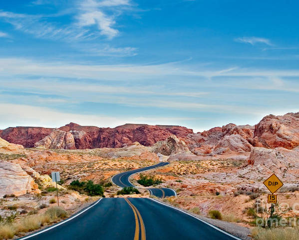 Landscape Poster featuring the photograph On The Road - Valley Of Fire by Carl Jackson