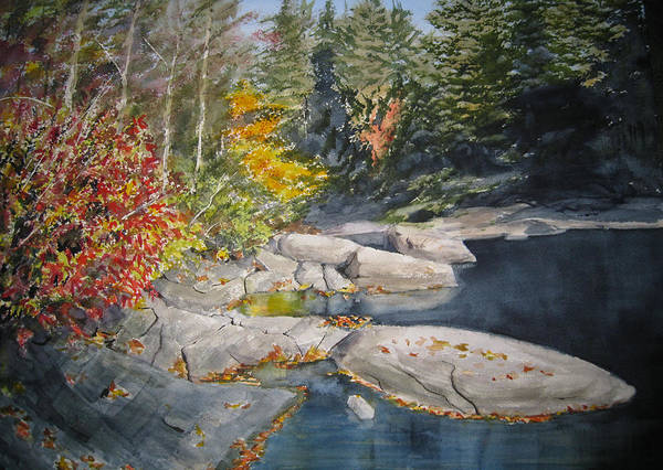 Landscape Poster featuring the painting On The Rocks by Shirley Braithwaite Hunt