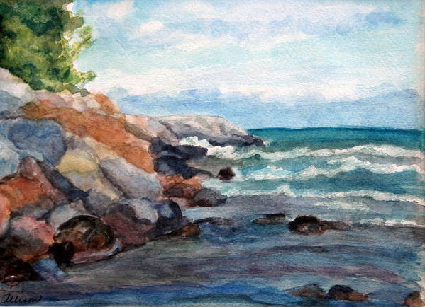 Seascape Poster featuring the painting On The Rocks by Stephanie Allison