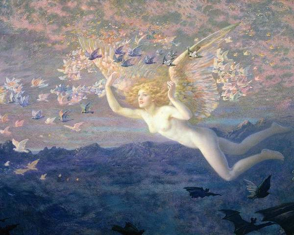 Nude Poster featuring the painting On The Wings Of The Morning by Edward Robert Hughes