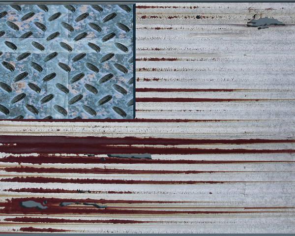 One Poster featuring the digital art One Nation Under God by Hannah Breidenbach