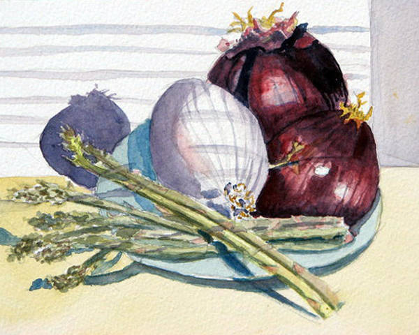 Still Life Poster featuring the painting Onions And Asparagus - Miniature by Libby Cagle