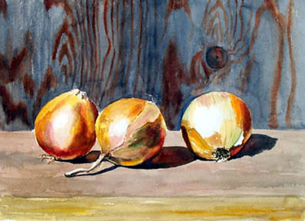 Still Life Poster featuring the print Onions In The Sun by Anne Trotter Hodge