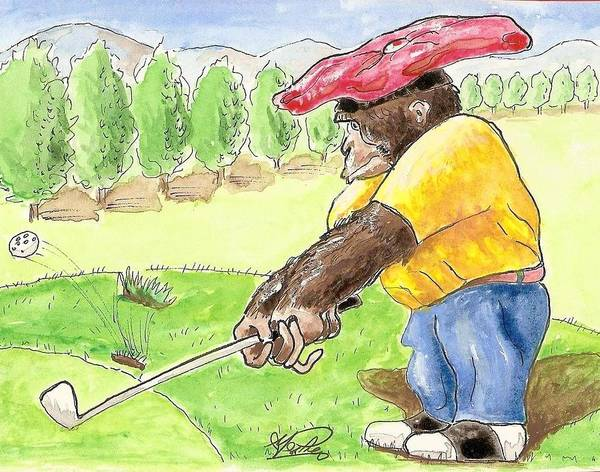 Golf Poster featuring the painting Oops by George I Perez