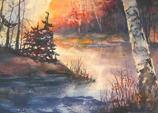 Landscape Poster featuring the painting Opeongo Lake, Algonquin Provincial Park by Madelaine Alter