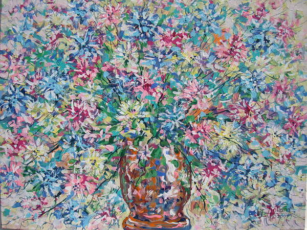 Painting Poster featuring the painting Opulent Bouquet. by Leonard Holland