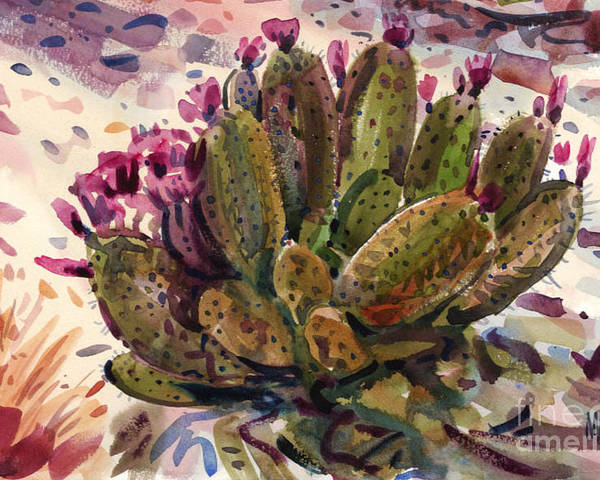 Opuntia Cactus Poster featuring the painting Opuntia Cactus by Donald Maier