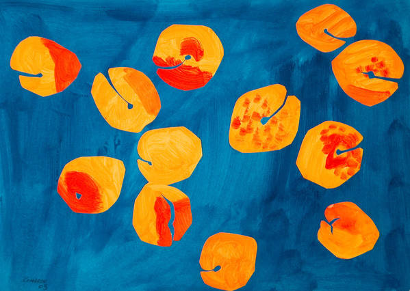 Apricot Poster featuring the painting Orange Apricots by Vitali Komarov