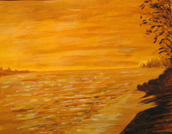 Ocean Poster featuring the painting Orange Beach by Ian MacDonald