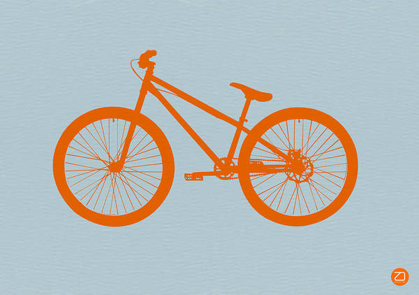 Bicycle Poster featuring the digital art Orange Bicycle by Naxart Studio