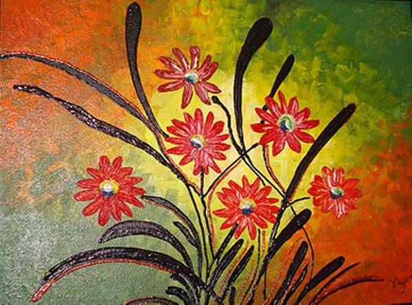 Orange Flowers Poster featuring the painting Orange For Happiness by Xafira Mendonsa
