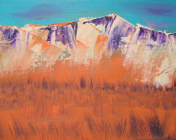 Mountains Poster featuring the painting Orange Grass by Liz Vernand