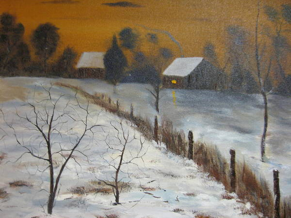 Landscape Poster featuring the painting Orange Night by Brian Hustead