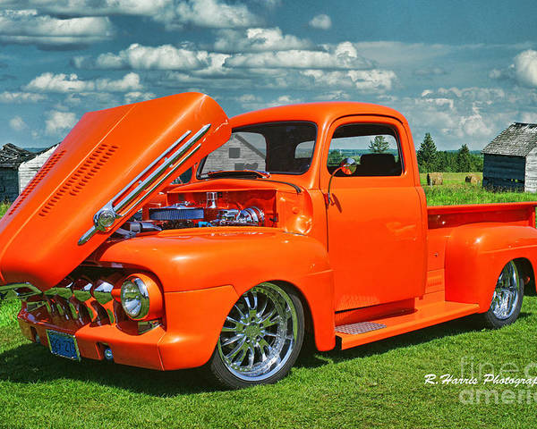 Cars Poster featuring the photograph Orange Pick Up At The Car Show by Randy Harris